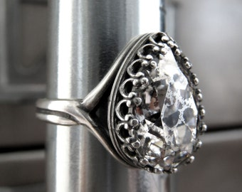Patina Crystal Teardrop Ring with Antiqued Silver Crown Bezel, Swarovski Patina Crystal Ring, Adjustable Ring, Mercury Glass Style Ring