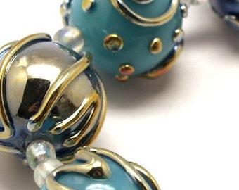 Turquoise Lampwork beads, Glass beads , lampwork glass beads, lampwork, lampwork, glass, handemade - Artisan Glass Jewelry Beads