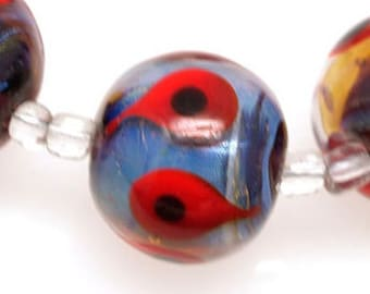 Pearly (8) round silver glass beads with red and black dots Lampwork beads  SRA ready to ship