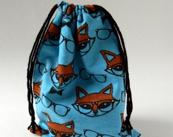 Mr. Fox Drawstring Bag, Red Fox Party Favor Bag, Children Drawstring Bag, Crayons fabric bag Children party drawstring Bag, fox with glasses