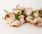 12 Small Nude Khaki Ranunculus Flowers on Wire Stems - Floral Crown or Millinery Supplies - read description - ITEM 0936