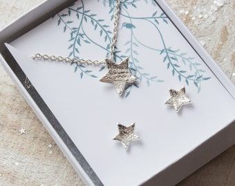 Textured Silver Star Necklace and matching earrings - Solid Silver Star Necklace, Textured Handmade Star Earrings, Graduation gift, teen