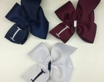 Initial Uniform, Hair Bows, Set of 3, 4 inch School, Medium Hairbows, Embroidered, Navy Maroon, Girls Clip Ribbons, Letter Custom, Boutique