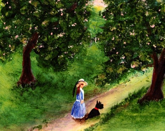 A Walk Through the Apple Orchard Scottish Terrier dog print by Todd Young