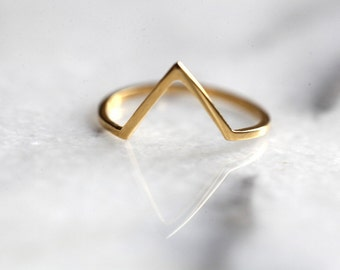 """Gold triangle , geometric ring, vermeil, gold 22k over silver, peak ring """"Open Monuntain"""""""