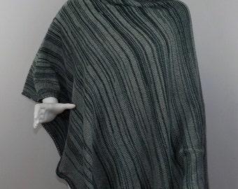 Handmade Knit Poncho - Hunter Green and Pale Green Random Stripes