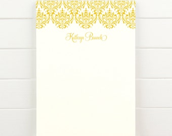 DAMASK Personalized Notepad - Feminine Pretty Custom Letterhead