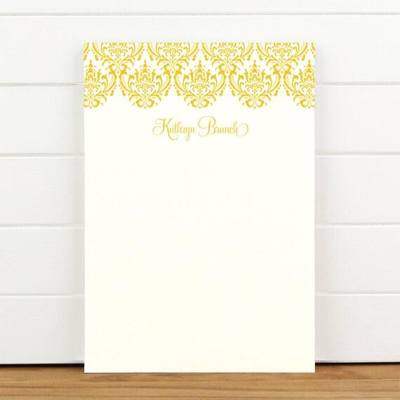 DAMASK Personalized Notepad - Feminine Pretty Custom Letterhead