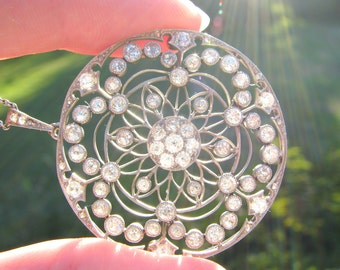 Antique Diamond Pendant Necklace, Platinum, Fiery Old Cut Diamonds, approx. 2.90 ctw, Elegant, Intricate Filigree & Milgrain, Edwardian Era