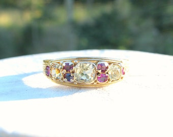 1920 Art Deco Chrysoberyl Ruby Ring Band, Beautiful Cushion Cut Stones, Lovely Details in 15K Gold, Hallmarked