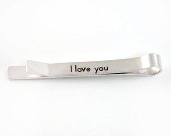 Hidden Message Tie Clip, Gift for Him, Personalized Tie Bar, Tie Tack, Handstamped Monogram Aluminum Tie Clip