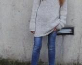 Gray sweater dress, women's knit dress, long sweater