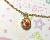 Kawaii Strawberry Mousse Cake Golden Necklace,  Dessert Necklace, Cake Necklace, Sweet Necklace, Cute Necklace, Cute Gift, Christmas Gift