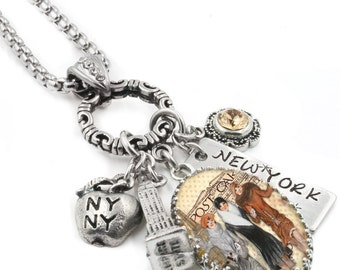 New York Necklace, New York City, New York Pendant, New York City Charms, Empire State Building, NYC Necklace, The Big Apple