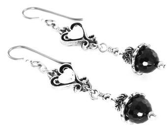 Onyx Drop Earrings, Crystal Heart Earrings, Black Dangle Earrings