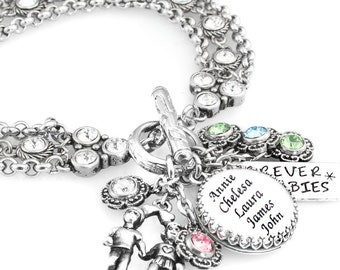 Custom Charm Bracelet, Memorial Jewelry, Mother's Jewelry, Bridal Jewelry, Crystal Bracelet, Choose your Crystals, Quote, Picture, Charms