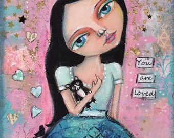 Big eyed girl , Mixed Media Painting , Childrens Art, Nursery Decor, Original painting, Whimsical Girl, tuxedo cat