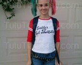 Harley Quinn Shirt, Suicide Squad Daddy's Lil Monster JUNIORS Red Raglan 3/4 Sleeved Baseball Shirt for Cosplay Halloween Costume