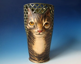 Tabby Cat Vase with lattice cutouts - Hand thrown and sculpted