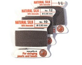 Size 10, 12 or 16 : Gray Cord, 100% Silk Cord with Built-In Stainless Steel Needle for Jewelry & Hand Knotting, 2 Yard Spool