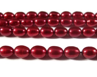 Deep Red Rice Pearls, Luminous Freshwater Pearls, 7x5mm, 16 Inch Strand, Long Drilled Pearl Beads(P-R11)