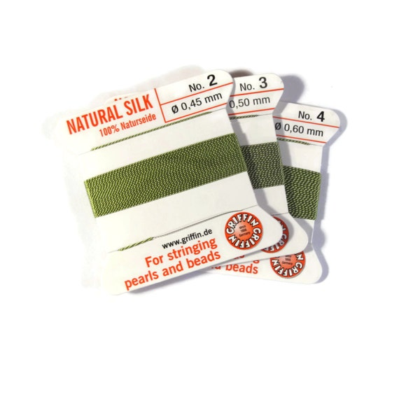Size 2, 3 or 4 : Sage Green Cord, 100% Silk Cord with Built-In Stainless Steel Needle for Jewelry & Hand Knotting, 2 Yard Spool