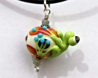 Ronnie the Handmade Glass Frog Bead Pendant Necklace in Green Ivory and Orange