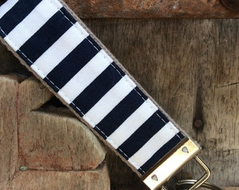 READY TO SHIP-Beautiful Key Fob/Keychain/Wristlet-White and navy on gray
