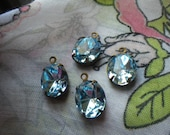 Swarovski Aquamarine 12x10mm Oval Brass Ox Glass Drops 4 Pcs