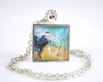 Abstract Necklace, Savannah Painting, Printed Pendant, Outdoor Lover, Contemporary Jewelry, Modern Jewelry, Sister Gift, Daughter Present