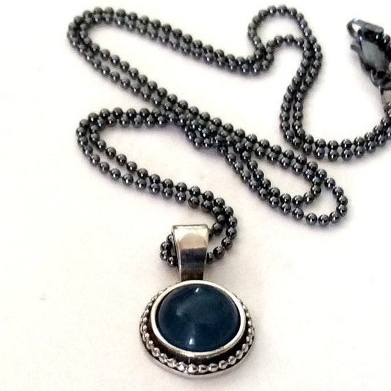 Sterling silver necklace, silver stone necklace, necklace with pendant, aquamarine pendant, little pendant, ball chain - Close to me N2007-1
