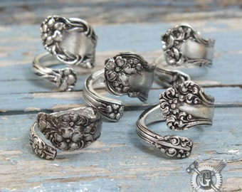 Beautiful Spoon Ring Assortment - Adjustable - Set of 5 Rings - Doctorgus Handmade Pewter Jewelry - Victorian Boho Style - Wedding Ideas