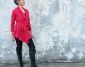STRETCHY Belted Cocoon Jacket - ( Stretchy organic cotton knit with lycra ) - organic jacket