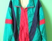 Women's Vintage Cabin Creek Windbreaker // Tall Nylon Jacket // Parachute Jacket // Neon Colors // Size Large