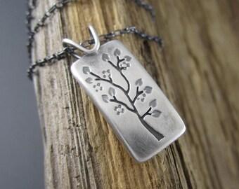 Handmade Spring Tree Portrait Sterling Silver Pendant