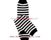 Baby Boy   Girl Black n White Stripe NO Ruffle Legwarmers.Kids Children Unisex Warm Knit Leg Warmers.Striped Footless Sock Soccer Dance