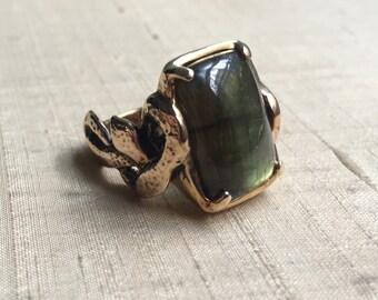 Labradorite and Bronze- Intertwining Snake Ring