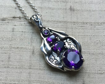 Art Nouveau Inspired Amethyst and Sterling Pendant