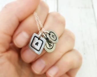 Three Initial Necklace - Personalized Necklace - Gift for Her, Wife - Initial Jewelry - For Her, Birthday Gift for Mom, Letter Necklace