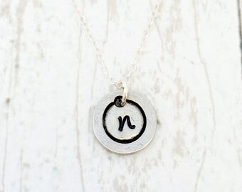 Round Initial Necklace - Personalized Necklace - Cluster Necklace - Initial Jewelry - For Her - Birthday Gift for Mom - Mom Necklace