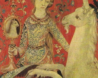 ART PRINT on Silk Medieval Lady showing the UNICORN what he looks like in the mirror use in Fiber Art Crazy Quilting Applique Crafts 3x4 in