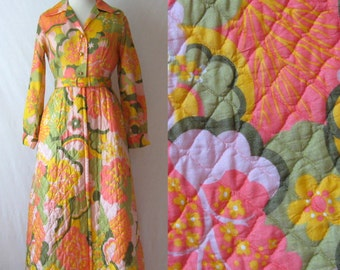 Maxi Dress 70s Psychedelic Dress Hostess Dress Long Quilted Dress