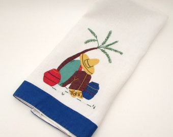 Vintage Tea Towel - Novelty Mexican Siesta Sombrero - Linen - Applique - Embroidered - Hand Towel - Kitchen Towel