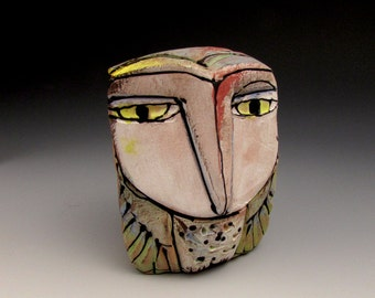 "Owl art, ceramic owl figurine, 3-5/8"" tall, ""Owl Person Dreaming Beauty in the Mountains"""