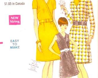 60s Wrap dress Retro one piece A line Mod Summer Hipster Vintage sewing pattern Vogue 7361 Bust 36 UNCUT
