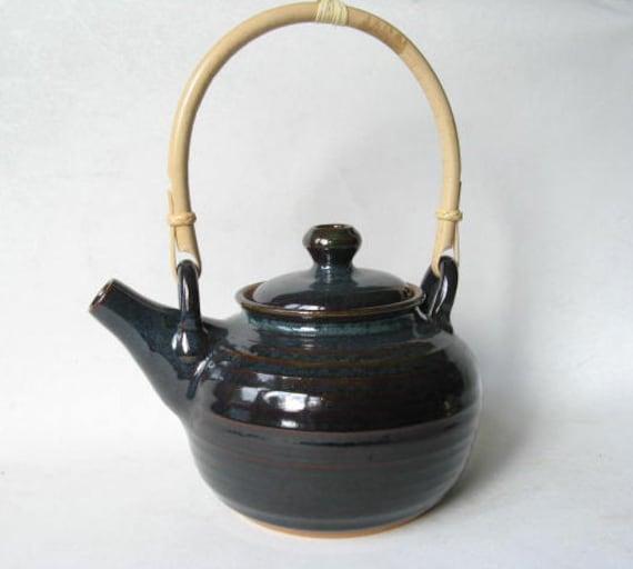 Pottery teapot handmade teapot ceramic teapot bamboo - Bamboo teapot handles ...
