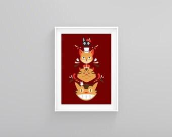 "Studio Kitty Print 8x10"" Catbus The Baron Jiji King Tom"