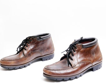 Size 13 // HHB Watermocs Leather Men's Boots// Brown Leather Lace up Mens Ankle boots// 116