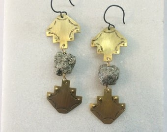 Hand stamped mirrored brass shapes with pyrite center stone