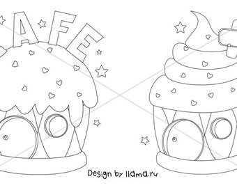 Digital Stamp, Digi Stamp, coloring page - House in the form of ice cream and cupcake